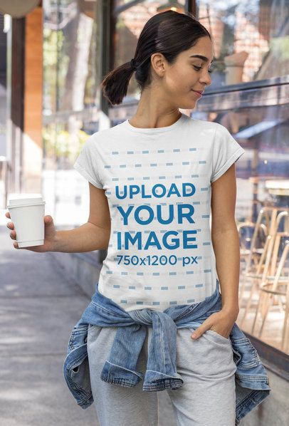 T-Shirt Mockup Featuring a Woman in an Athleisure Style 32469
