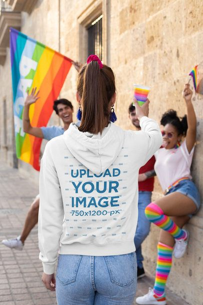 Back View Mockup of a Woman with a Hoodie Cheering with Her Friends 33001