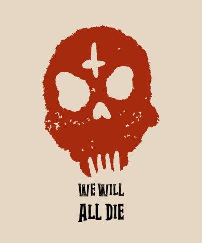 T-Shirt Design Template Featuring a Creepy Skull Graphic 722c-el1