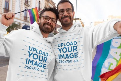 Hoodie Mockup of a Happy Couple Taking a Selfie at a Pride Parade 32978