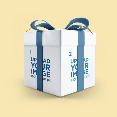 Mockup Featuring a Gift Box With a Colored Ribbon Against a Plain Background 3486-el1