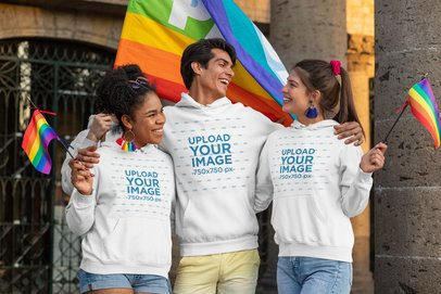 Pullover Hoodie Mockup of Three Happy Friends Holding LGBT Pride Flags 33006
