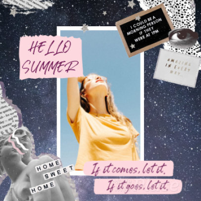 Instagram Post Video Maker with a Summer Collage Layout 1227