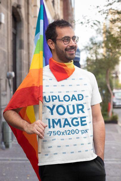 T-Shirt Mockup of a Man Carrying an LGBTQ Pride Flag 32956