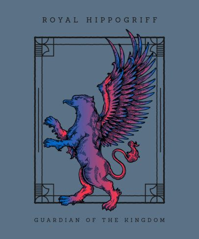 T-Shirt Design Template Featuring a Winged Mythical Character 676a-el1