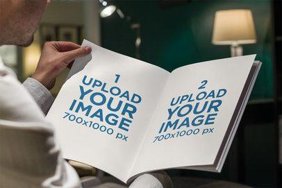 Mockup of a Man Reading a Magazine at Home 3389-el1