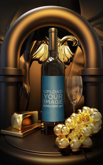 Wine Bottle Mockup Featuring Golden Ornaments 33803