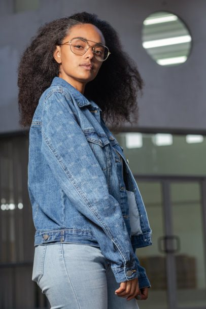 Denim Jacket Mockup of a Woman Showcasing Her Sleeve 32582