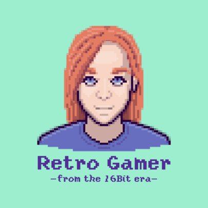Gaming Logo Creator with a 16-bit Female Avatar 3093e