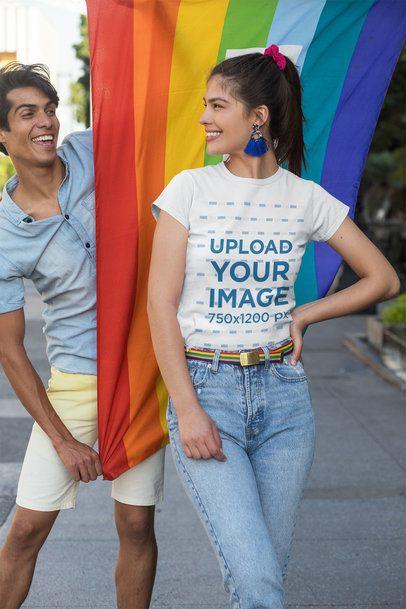 Mockup of a Happy Woman Wearing a T-Shirt at a Pride Parade 32997