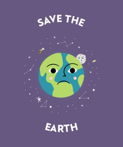 Illustrated T-Shirt Design maker with an Anguished Planet Earth 2410b