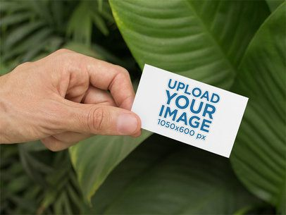 Mockup of a Man Holding a Business Card by Some Palm Leaves 33838