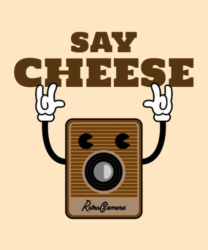 T-Shirt Design Maker with a Vintage Camera Cartoon Character 2399e