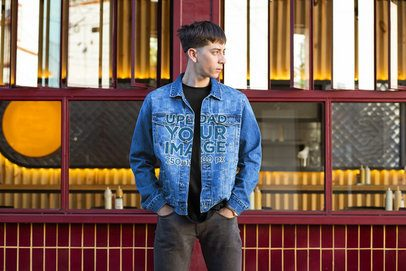 Mockup of a Cool Man Wearing a Denim Jacket on the Street 32594
