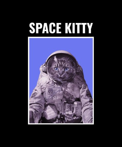 T-Shirt Design Creator Featuring an Astronaut Cat 2396a