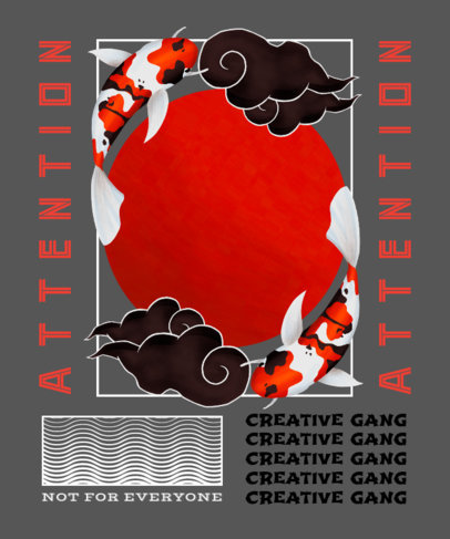 T-Shirt Design Template with Koi Fishes Graphics and Modern Assets 2398c