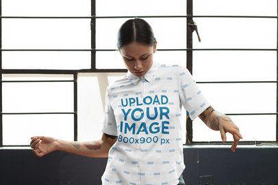 Button-Up Shirt Mockup Featuring a Woman Dancing 33149