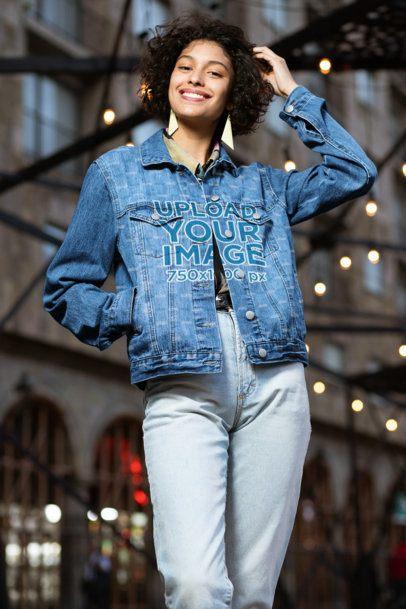 Mockup of a Joyful Woman Wearing a Sublimated Denim Jacket 32589