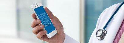 White iPhone Mockup of a Doctor at a Hospital a12438wide