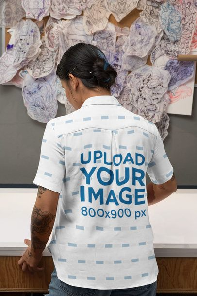 Back View Mockup of a Tattooed Woman Wearing a Customizable Button-Up Shirt 33151