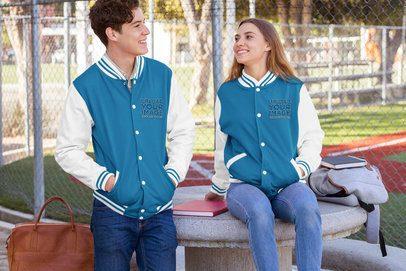Varsity Jacket Mockup Featuring Two Friends Talking 33205