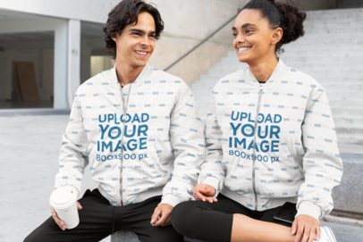 Bomber Jacket Mockup Featuring Two Friends Hanging Out 33222