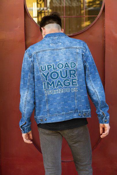 Back-View Mockup of a Man Wearing a Denim Jacket 32610