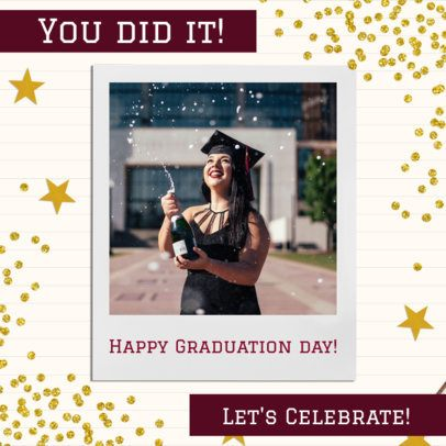 Instagram Post Template for a Graduation Celebration with a Starred Background 2431d