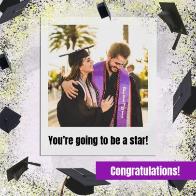 Instagram Post Generator Featuring a Background Filled with Graduation Cap Graphics 2431j