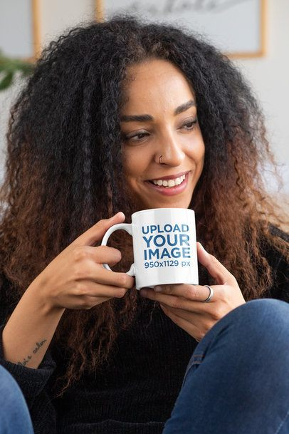 Mockup of a Curly-Haired Woman with an 11 oz Mug in Her Hands 33174