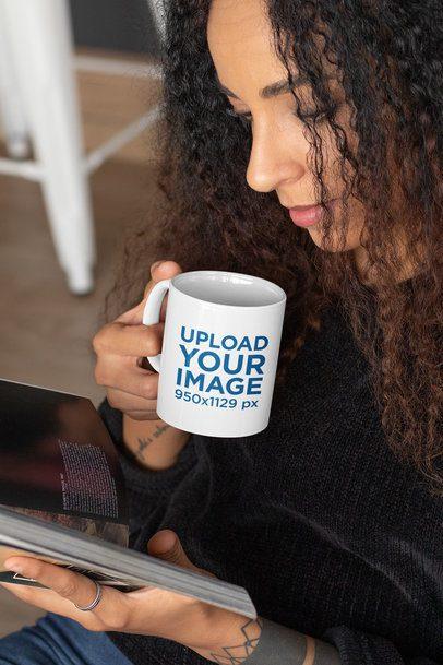 11 oz Mug Mockup Featuring a Woman Reading While Having a Coffee 33175