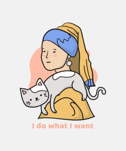 Parody T-Shirt Design Maker Featuring Famous Painting with Cats 834