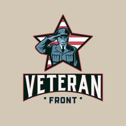 Patriotic Logo Template Featuring a Saluting Veteran Soldier 3122a