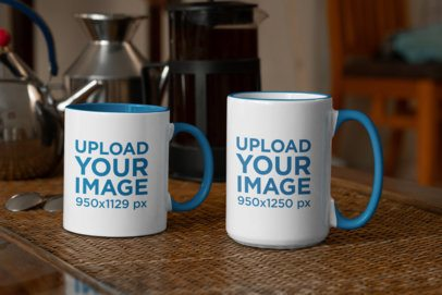 Mockup an 11 oz Mug and a 15 oz Mug in a Warm Kitchen 33307