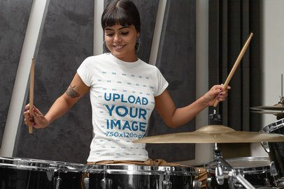 T-Shirt Mockup Featuring a Female Drummer 33342