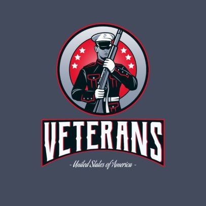 Logo Template With an American Veteran Soldier Clipart 3122j