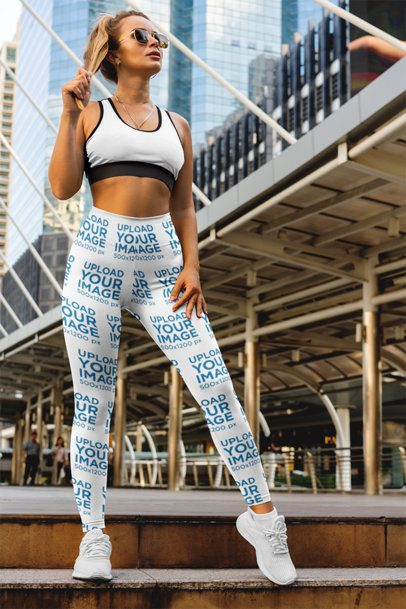 Leggings Mockup of a Woman Posing in the City 3642-el1
