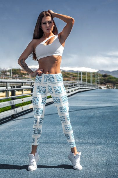 Mockup of a Fit Woman Wearing Sublimated Leggings 3652-el1
