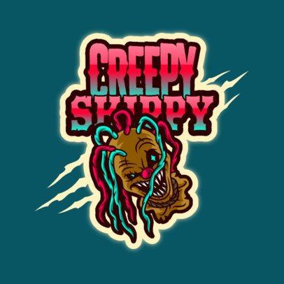 Horror Logo Template Featuring a Creepy Clown Clipart 3128n