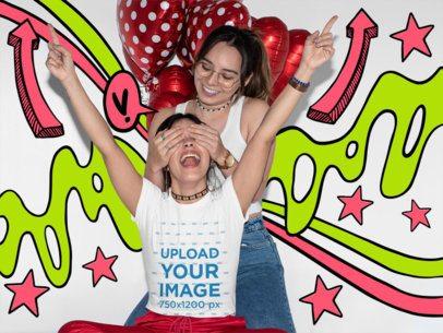 T-Shirt Mockup Featuring a Joyful LGBT Couple and Heart Shaped Balloons 31239