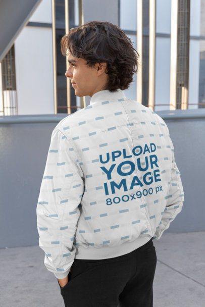 Back View Mockup Featuring a Man with a Sublimated Jacket 33226