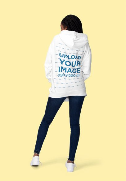 Mockup Featuring a Woman Showcasing the Back of Her Hoodie 1818-el1
