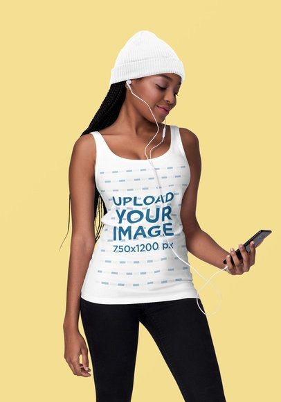 Tank Top Mockup of a Woman Listening to Music at a Studio 1827-el1