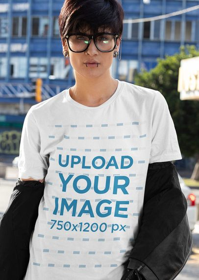 T-Shirt Mockup of an Edgy Woman with an Androgynous Style 32930