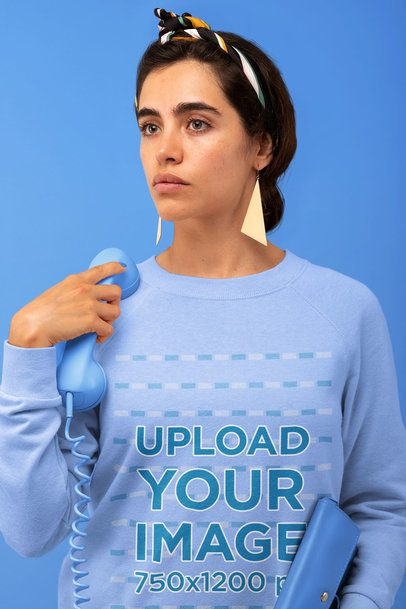 Sweatshirt Mockup of a Woman with a Vintage Monochromatic Setting 32827