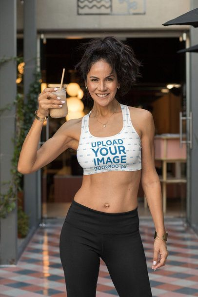 Sports Bra Mockup of a Fit Woman Holding a Smoothie 32779