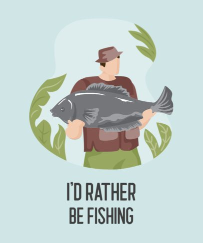 Illustrated T-Shirt Design Generator Featuring a Fisherman Posing with a Big Fish 753b-el1