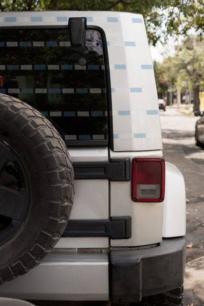 Car Decal Mockup Placed on the Rear of an All-Terrain's Truck Hardtop 33260
