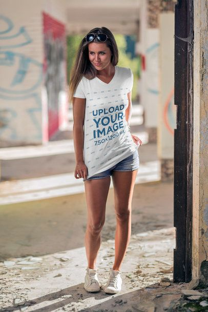 Mockup of a Woman Wearing a V-Neck Tee with a Cool Outfit 3684-el1