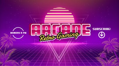 YouTube Banner Template for a Gaming Channel Featuring Retro Vaporwave-Style Graphics 939a-el1